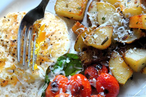 Rosemary Potatoes with Sauteed Tomatoes and Over-Medium Egg