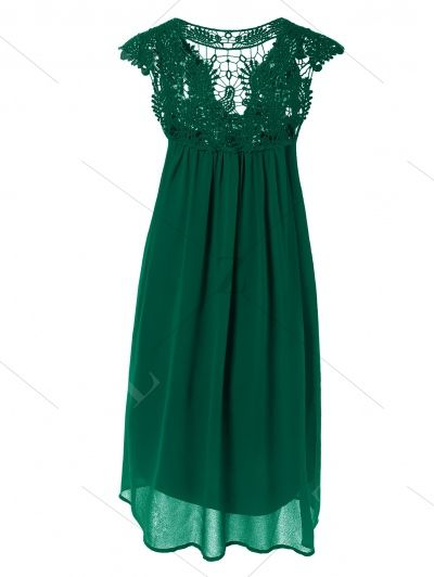 Plus Size Lace Chiffon Dress BLACKISH GREEN: Casual Dresses | ZAFUL