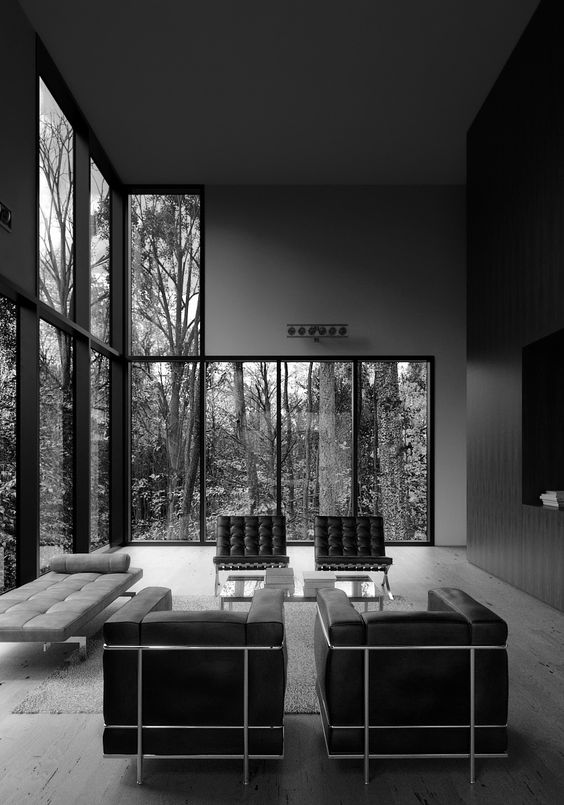 barcelona chair le corbusier and house interiors on pinterest. Black Bedroom Furniture Sets. Home Design Ideas