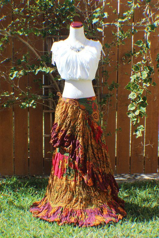 Green, red, fuchsia, gold, orange and plum long tiered crinkle wrap skirt