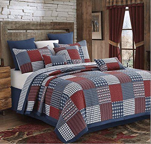 Blocks Red And Blue Patchwork Quilt Set King Best Quilted Comforter Set Usa King Quilt Sets Quilt Sets Queen Quilt Sets