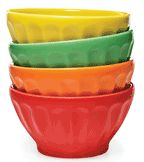 Bright coloured bowls...so cheery