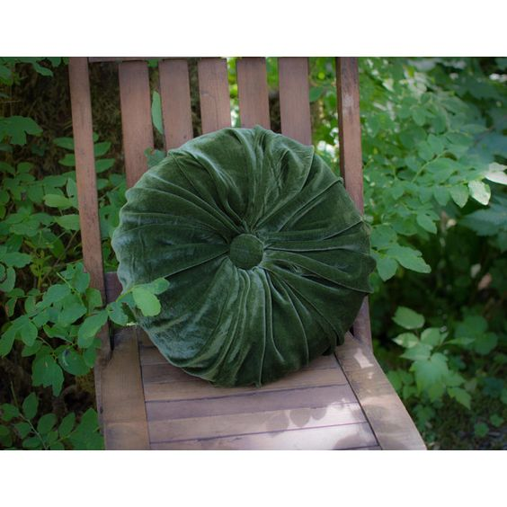 Pine Green Silk Velvet Tufted Pleated Round Throw Pillow ($79) ❤ Liked On  Polyvore