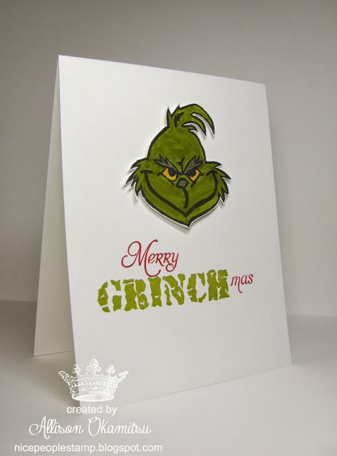Merry GRINCHmas - Undefined Hand Carved Grinch Stamp by Allison Okamitsu: Cards Scrapbook Ideas, Cards Christmas, Christmas Cards Ideas, Greeting Cards, Cards Papercraft, Cards Gifts, Grinch Christmas Cards, Grinch Cards