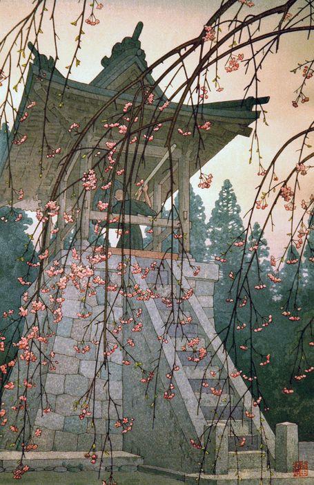 numanbaba:    Heirinji Temple Bell, Toshi Yoshida, woodblock print, 1951: