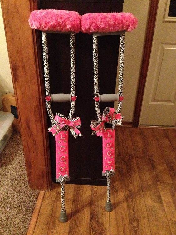 decorate crutches glitter | Bling zebra crutches! Limpin in style!
