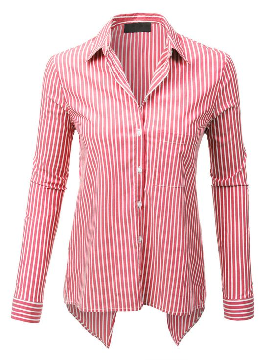 Le3no womens long sleeve button down striped shirt with for Womens patterned button down shirts