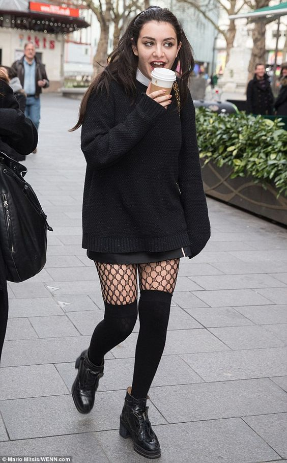 Plenty to smile about: Charli XCX stepped out in a typically racy fashion as she grabbed a coffee in central London on Friday morning after an appearance at Capital FM