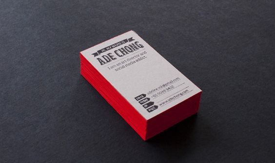 red edge painted business cards