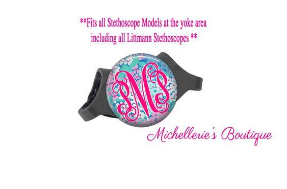 3M Littmann Stethoscope ID tag Monogram Stethoscope Id Tag Personalized Stethoscope Id tag Name Stethoscope Tag Preppy Floral Blues (16.95 USD) by MichelleriesBoutique