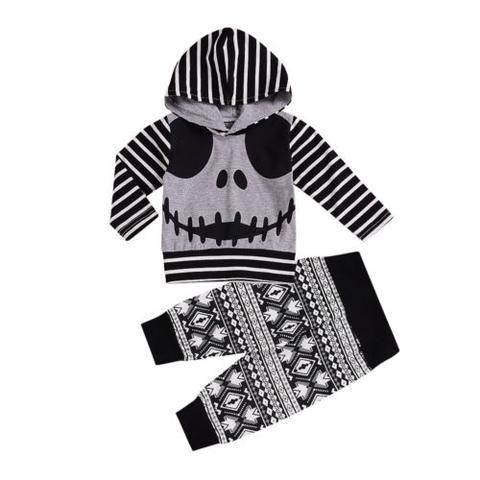 UK 2Pcs Newborn Toddler Baby Boys Girls Skull Romper Jumpsuit Outfit Costume Set