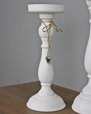 Teelichthalter Kerzenhalter weiß Holz Herz silber Landhaus Deko Kerzenständer