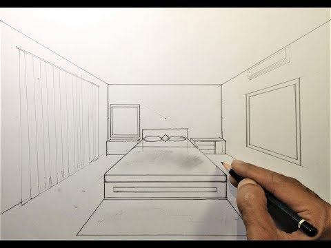How To Draw A Simple Bedroom In One Point Perspective 3 Youtube One Point Perspective One Point Perspective Room Room Perspective Drawing