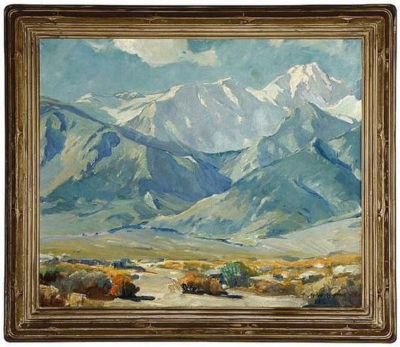 Description: Aaron Kilpatrick (1872-1953 Eagle Rock, CA) mountain landscape, signed lower right: Aaron Kilpatrick, numbered verso: 594, oil on canvas, 20'' x 24'', 20 H x 24 W