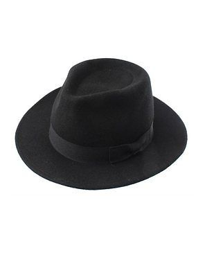 Black Unisex 100% Wool Fedora Hat
