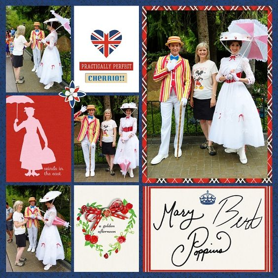 United Kingdom EPCOT Disney Marry Poppins Project Life Layout page using Project…