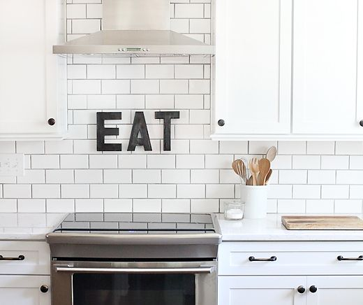 Metal letters subway tiles and letters on pinterest for Kitchen colors with white cabinets with letter sticker