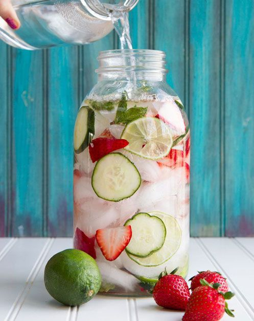 Fruit-Infused Water  Flavored H2O feels like such a luxury, but it couldn't be easier to make. Try a combo like strawberry-cucumber. Just cut a handful of slices of each fruit, add them to a pitcher of water and refrigerate for a few hours to infuse.