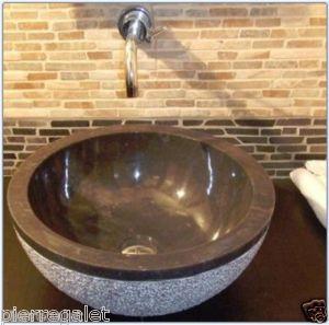 D tails sur vasque marbre noire salle de bain lavabo for Evier salle de bain en pierre