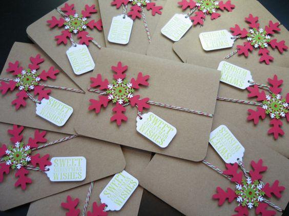 Handmade Snowflake Kraft Christmas Cards Set of by apaperaffaire, $20.00