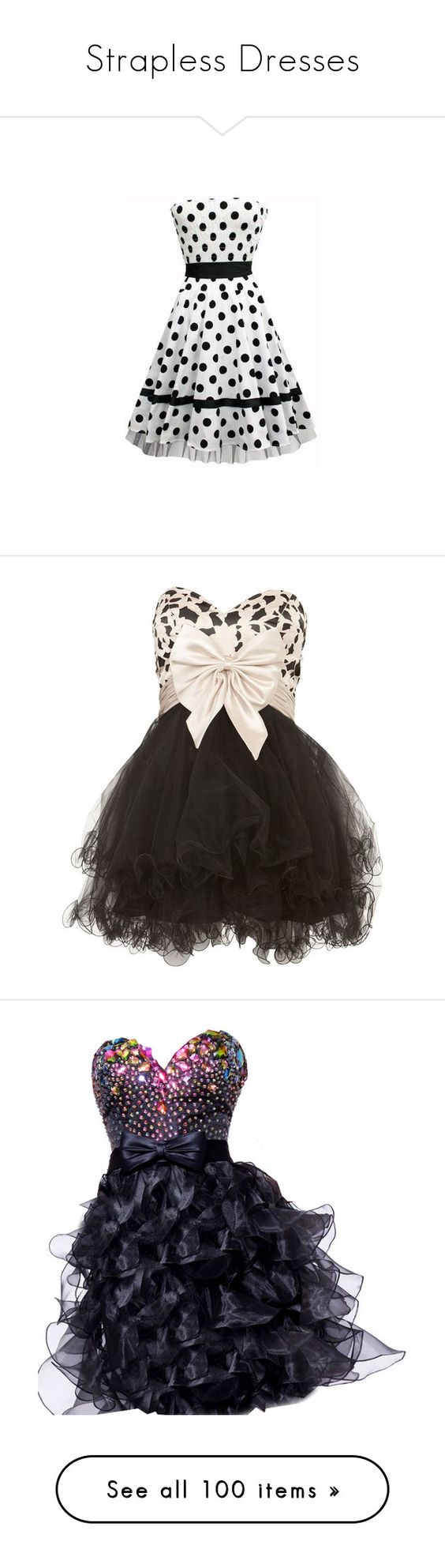 """Strapless Dresses"" by gbaby707 ❤ liked on Polyvore featuring dresses, rockabilly, rockabilly dress, vestidos, robe, short dresses, cocktail mini dress, black strapless dress, black cocktail dresses and prom dresses"