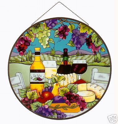 """WINE & CHEESE VINEYARD WINERY GRAPES 21"""" ROUND STAINED GLASS WINDOW PANEL"""