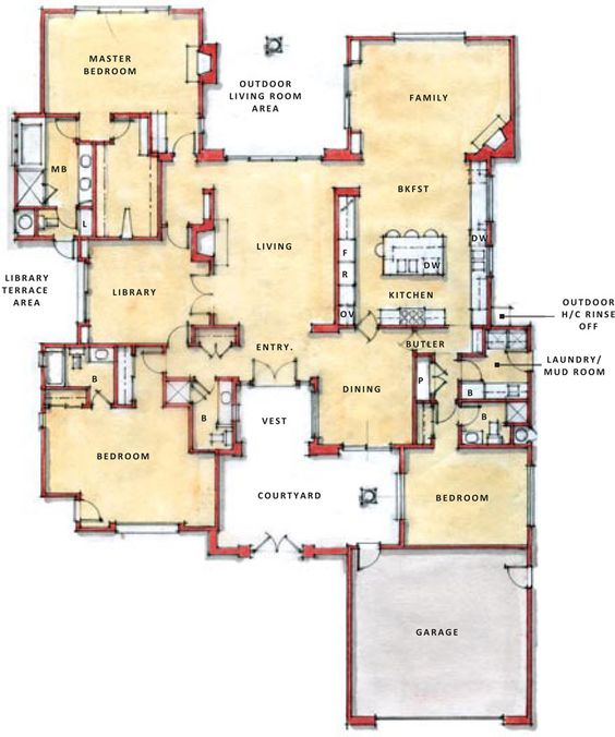 Single Story Open Floor Plans One Story Plan First Floor Flex