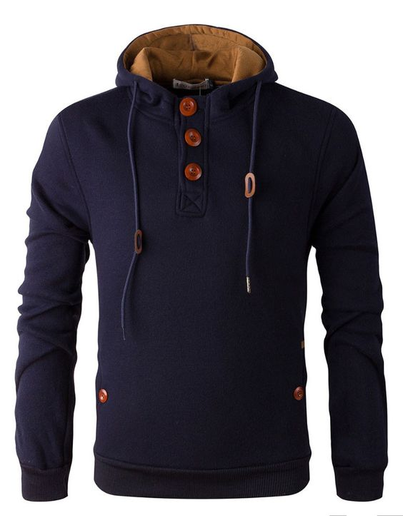 Henley Hoodie w/ Elbow Patches Navy