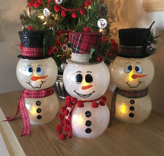 How To Make A Fish Bowl Snowman Snowman Crafts Xmas Crafts Snowman Christmas Decorations Christmas Crafts