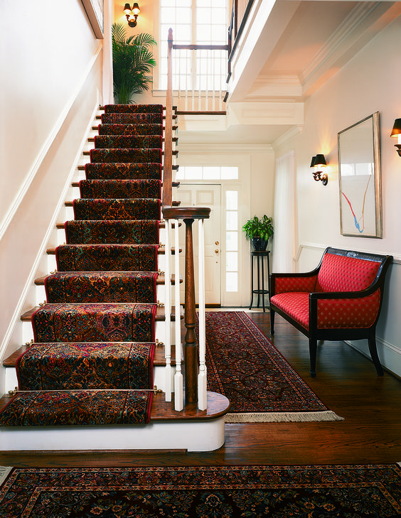 Traditional kirman stair runner and hallway rug from for Luxury stair carpet