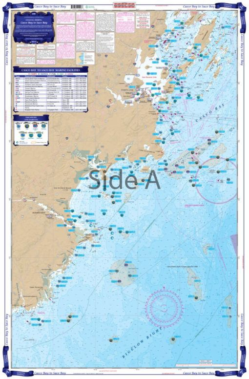 Casco Bay To Saco Bay Maine Coastal Fishing Chart 101f Casco Bay New Meadows Frames On Wall