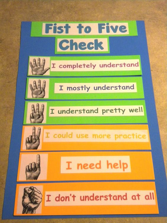 """When you say """"fist to five check"""" students rate their understanding by holding up the appropriate number of fingers. The goal is for everyone to be in the green. Great way for students to self-assess their understanding and help you to gauge student understanding."""