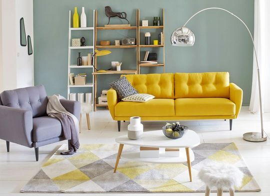 Style vintage salons and tapis g om trique on pinterest - Chambre bleu canard jaune moutarde ...