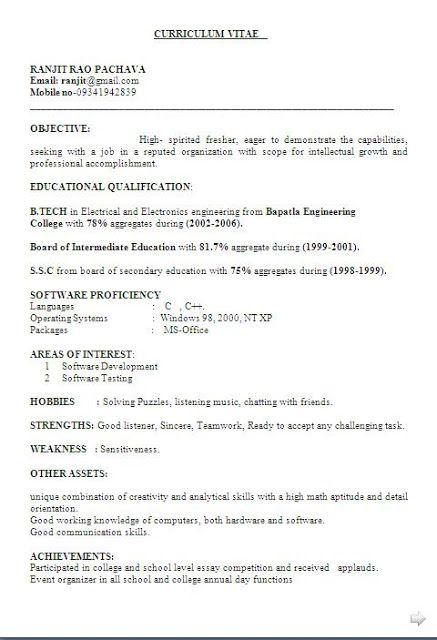 best cv examples free download Sample Template Excellent - software tester resume format