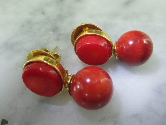 Ohrstecker - Perlen Ohrstecker Gold Koralle Rot Kugel Briolett - ein Designerstück von TOMKJustbe bei DaWanda