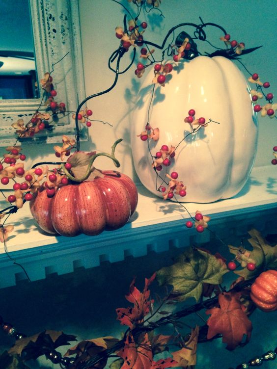 Pretty pumpkins for fall mantles