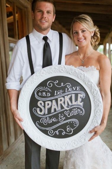 Eclectic Navy, Mint, and Peach Wedding Ideas  Chalkboard sign by Chalk Shop Events, Orlando, Florida