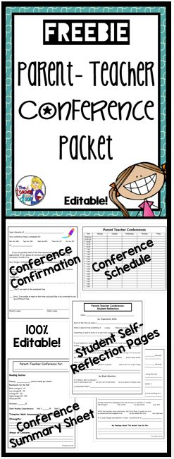 Freebie! Editable forms you can use for Parent-Teacher Conferences. My favorite are the student self-reflection pages!