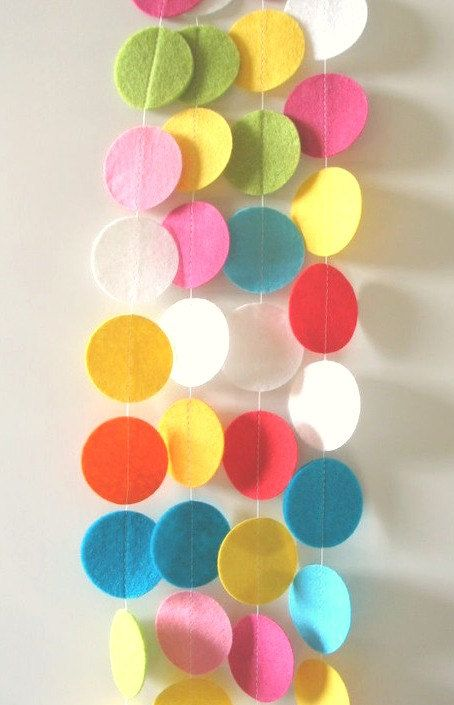 Fun and Bright Felt Circle Garland, Felt Circle Banner, Felt Circle Bunting, Nursery Garland, Photo Prop,  Party Pack 30 FT: