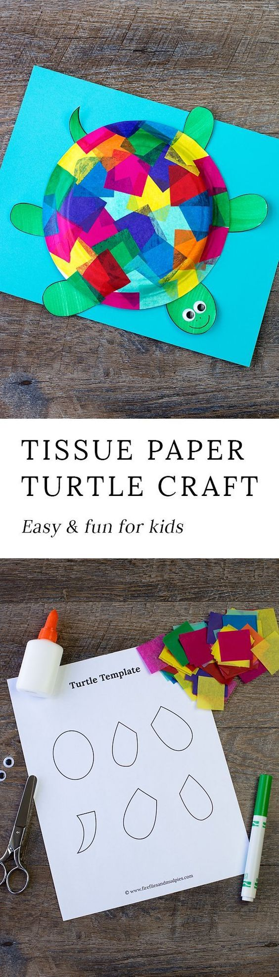 This easy and fun Tissue Paper and Paper Plate Turtle craft includes a free printable template, making it perfect for home, school, daycare, or camp. via @https://www.pinterest.com/fireflymudpie/ #ad