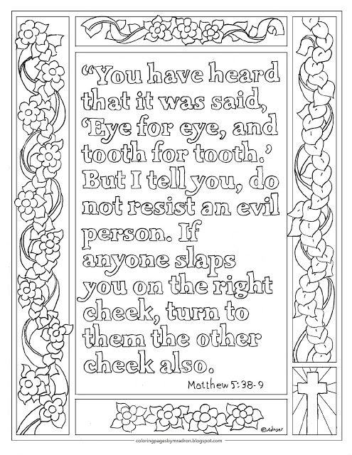 Matthew 5 38 39 Print And Color Page Turn The Other Cheek Bible