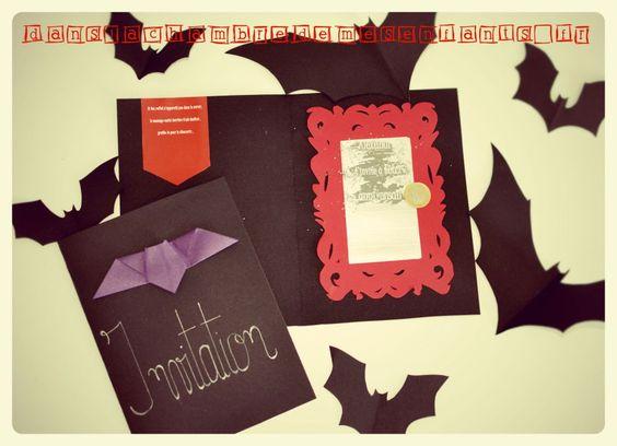diy invitation miroir a gratter deco anniversaire fete enfants chauve souris bat halloween. Black Bedroom Furniture Sets. Home Design Ideas