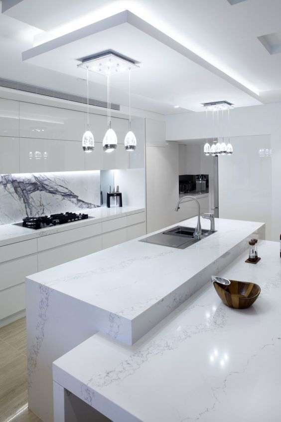 Download Wallpaper All White Kitchen Modern