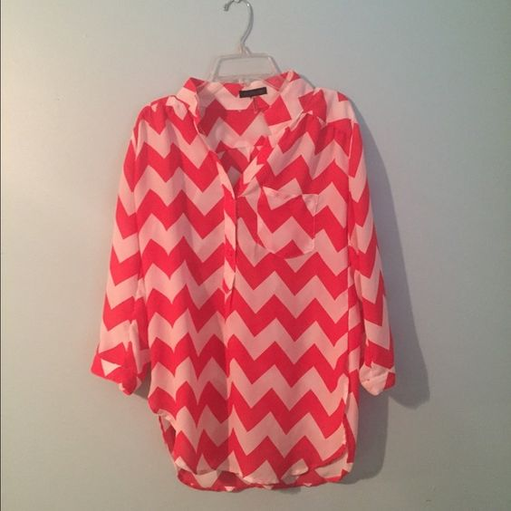 Chevron shirt Chiffon like material. Only worn twice. Slightly longer in the back Tops Tunics
