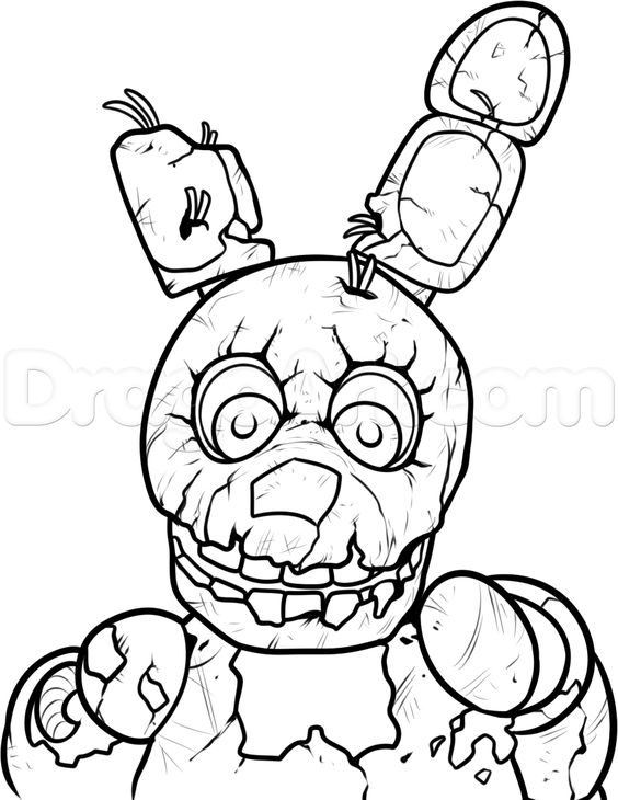 Fnaf coloring page fnaf pinterest five nights at freddy s - How To Draw Springtrap From Five Nights At Freddys 3 Step