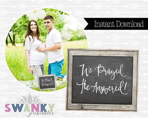 Pregnancy Announcement We Prayed...He Answered by SwankyPrintables