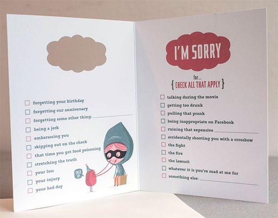 Iu0027m Sorry cardu2026 filled with a checklist of reasons to check off - free printable sorry cards