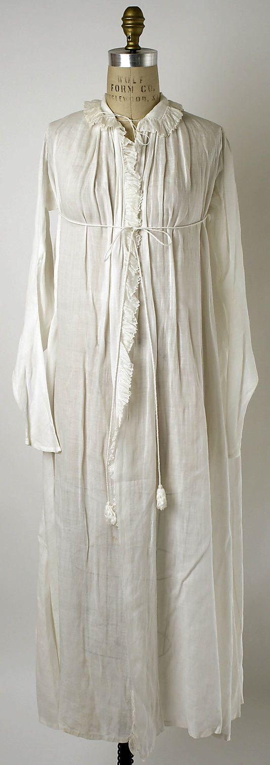 Dressing gown Date: ca. 1802 Culture: French Medium: linen
