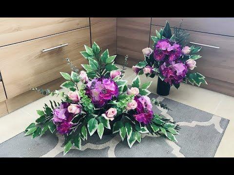 Komplet Nagrobny Stroik I Bukiet Na Cmentarz Sztuczne Hortensje I Roze Youtube Cemetery Flowers Floral Diy Flowers