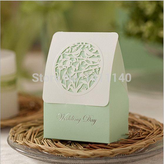 Spedizione gratuita 50pcs/lot primavera loro uccello amore bianco tagliato a laser colore verde chiaro festa di nozze regali caramelle favore scatole